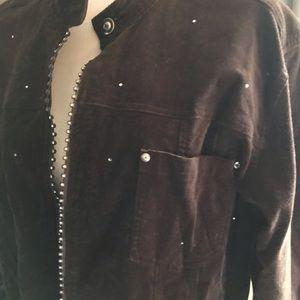 Quacker Factory Women's Brown Corduroy Bling Coat